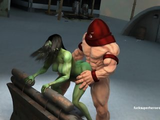 She hulk and the rock hard..