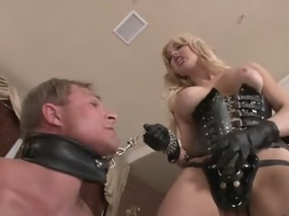 Blonde fucks him hard with..